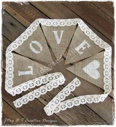 New BURLAP HESSIAN CROCHET LACE BUNTING LOVE COUNTRY VINTAGE WEDDING DECORATIONS