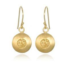 Simple Gold Om Earrings - Satya Jewelry