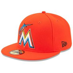 12c94db198 Men s New Era Orange Miami Marlins Road Authentic Collection On-Field  Performance Fitted Hat