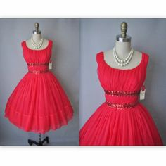 PERFECT for that 'Mad-Men' Vintage Inspired Christmas Eve Office Party lol  {1950's Ruched Chiffon}