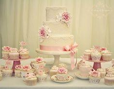 bolos de casamento rosa e branco - Pesquisa Google