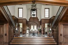 English Tudor | Portfolio | Sims Luxury Builders How To Make Building, Double Staircase, English Tudor, Tudor House, Great Rooms, Custom Homes, Luxury Homes, Architecture Design, Stairs