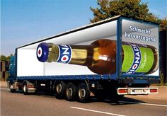 Truck Art - optical illusions are being put to commercial use by graphic designers in the world of advertising Optical Illusions Games, Amazing Optical Illusions, Optical Illusions Pictures, Illusion Pictures, Art Optical, Street Marketing, Guerilla Marketing, Marketing Ideas, Funny Advertising