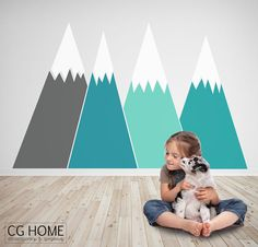 headboard MOUNTAIN view Christmas Snow mountain for kids by CGhome