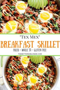 Mex Breakfast Skillet An easy and satisfying Whole 30 breakfast skillet filled with the spicy and smoky tex mex flavors that you love.An easy and satisfying Whole 30 breakfast skillet filled with the spicy and smoky tex mex flavors that you love. Breakfast Skillet, Whole 30 Breakfast, Paleo Breakfast, Breakfast Recipes, Breakfast Ideas, Clean Breakfast, Breakfast Waffles, Free Breakfast, Brunch Ideas