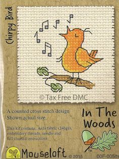 VAT-Free-Mouseloft-Counted-Cross-Stitch-Kit-In-The-Woods-Singing-Chirpy-Bird-New