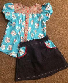 Library Blouse- Tadah Patterns Potato Chip Skirt- Tie Dye Diva