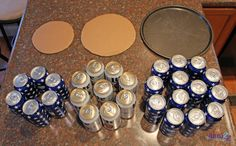 Beer Can Cake Tutorial - 30 beers, pizza pan, cardboard and decorationsYou can find Beer cakes and more on our website.Beer Can Cake Tutorial - Beer Can Cakes, Beer Cakes Diy, Cake In A Can, Cake Tower, Beer Gifts, Diy Birthday, Birthday Presents, Birthday Beer, Guys 21st Birthday