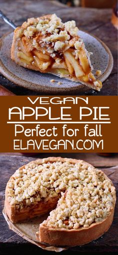 This vegan apple pie with streusel is the perfect fall dessert. It will make your kitchen smell like heaven and sweeten up your day. The recipe is vegan, gluten-free, can be made nut-free and refined sugar-free. - Vegan Apple Pie With Streusel Apple Pie Recipes, Vegan Dessert Recipes, Fall Recipes, Healthy Desserts, Non Dairy Desserts, Oatmeal Recipes, Streusel Cake, Apple Streusel, Vegan Pie