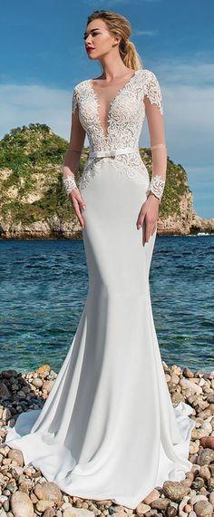 NEW! Elegant Tulle & Acetate Satin Scoop Neckline See-through Bodice Mermaid Wedding Dress With Lace Appliques & Belt #laceweddingdresses