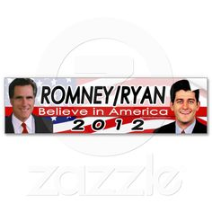 Romney/Ryan 2012 Republican Presidential Election Photo Bumper Sticker. More Romney/Ryan Gear at http://www.zazzle.com/cutencomfy*/romney+ryan+gifts .