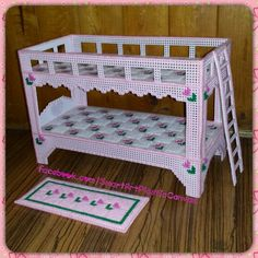 """Fashion Doll's Bunk Bed & Rug (Pink) Size: 12""""L x 6""""W x 8 1/4""""H Stitched by Shelley Caines @ facebook.com/SmartArtPlasticCanvas"""