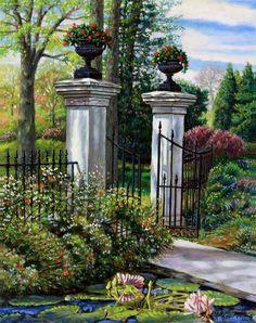 Garden Gate Painting - Shaws Garden Gate by John Lautermilch