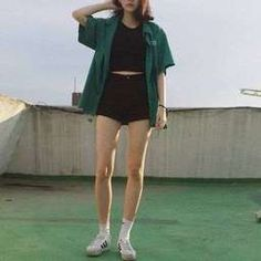 New fashion grunge black shirts 59 ideas Korean Outfits, Short Outfits, Cool Outfits, Summer Outfits, Casual Outfits, Boyish Outfits, Cute Fashion, Teen Fashion, Fashion Outfits