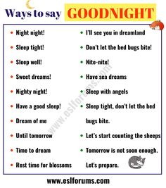 This page provides a list of 18 interesting ways of saying GOODNIGHT in English you might need to use in your daily life. English Learning Spoken, English Speaking Skills, Teaching English Grammar, English Writing Skills, Learn English Words, English Phrases, English Lessons, Book Writing Tips, Writing Words