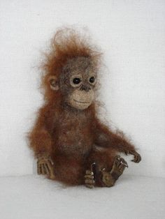 Needle Felted Baby Orangutan by Tamara111, via Flickr