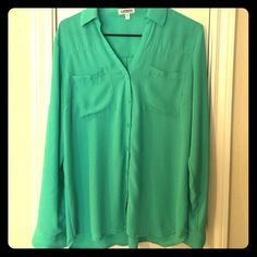 Mint green portofino shirt! Express' famous Portofino shirt in mint green. Sleeves roll up and can be fastened as pictures. In great condition. Express Tops Button Down Shirts