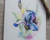 Blue-Purple Iris Watercolor Painted Card- Original Art