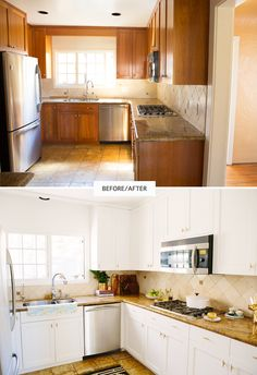 Painted cabinetry gives the kitchen an instant refresh The Best DIY Kitchen Upgrades for Design Lovers Dad's Kitchen, Kitchen Decor, Kitchen Design, Country Kitchen, Family Room Decorating, Family Room Design, Decorating Tips, Repainting Kitchen Cabinets, Kitchen Upgrades