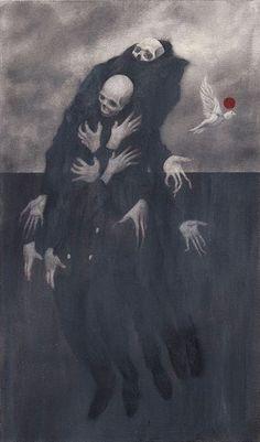 Skull Art by Randy Ortiz ☠️ Creepy Images, Creepy Art, Arte Horror, Horror Art, Satanic Art, Bizarre Art, Arte Obscura, Macabre Art, Occult Art
