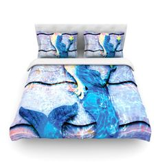 KESS InHouse Mermaid Starlight by Anne LaBrie Featherweight Duvet Cover Size: King/California King, Fabric: Woven Polyester Mermaid Sign, Decorative Duvet Cover, Crab Decor, Duvet, Mermaid Bedding, Mermaid Home Decor, Duvet Covers, Beautiful Bedding, Duvet Insert