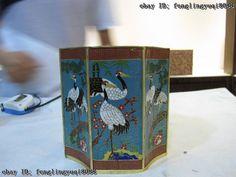 Royal Palace Copper Bronze cloisonne enamel red crown crane pen case brush pot