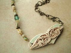 Sage Cream Picasso Heart Wings Artisian Clay by kristibasket, $44.00