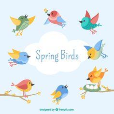 Os pássaros bonitos no estilo do vintage Vetor grátis