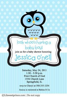 Owl baby shower invitation, blue for a boy Baby Showers, Baby Shower Parties, Baby Shower Themes, Baby Boy Shower, Baby Shower Decorations, Baby Shower Gifts, Shower Ideas, Baby Party, Shower Party