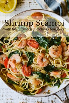 shrimp recipes This easy and quick Shrimp Scampi Pasta with Spinach and Cherry Tomatoes is a fresh, bright and healthy pasta recipe. Buttery sauce, garlic, lemon and wine bring a rich flavor to this summertime dish. Healthy Shrimp Scampi, Shrimp Scampi Pasta, Shrimp Scampi Recipe With Tomatoes, Shrimp Tacos, Spinach Shrimp Pasta, Pasta With Spinach, Shrimp And Spinach Recipes, Best Shrimp Scampi Recipe, Quick Shrimp Recipes