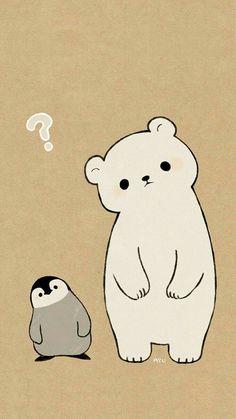 polar bear penguin drawing in cute animal drawings, cute - polar bear cute drawing Cute Disney Wallpaper, Kawaii Wallpaper, Wallpaper Iphone Cute, Cute Cartoon Wallpapers, Spring Wallpaper, Pastel Wallpaper, Phone Wallpapers, Pinguin Illustration, Cute Illustration