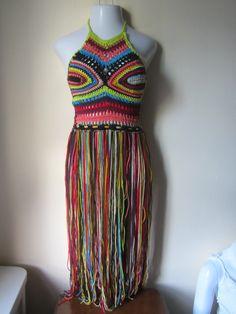 FESTIVAL CROCHET TOP, festival clothing, crochet halter top, halter top, Elongated fringe top, gypsy clothing, Hippie, bohemian, rainbow top on Etsy, $80.00
