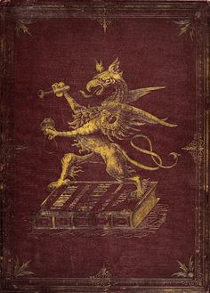 """""""Specimen Album"""" 1900. The front of this typeface ad engraving specimen featuring a griffin in gold."""