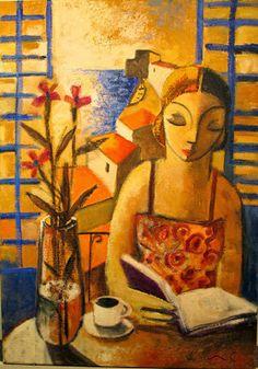 """Lectura i flors"", Didier Lourenço (b. 1968-) Spanish artist"