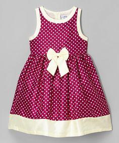 Mia Juliana Wine & Cream Polka Dot Shantung Dress - Infant & Toddler | zulily