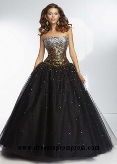 Ombre Gold Sequined Black Ball Gown With Lace Up Back