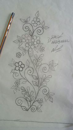 Marvelous Crewel Embroidery Long Short Soft Shading In Colors Ideas. Enchanting Crewel Embroidery Long Short Soft Shading In Colors Ideas. Border Embroidery Designs, Floral Embroidery Patterns, Embroidery Flowers Pattern, Simple Embroidery, Hand Embroidery Stitches, Crewel Embroidery, Ribbon Embroidery, Indian Embroidery, Hand Embroidery Videos