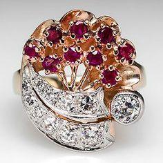 Retro Vintage Old European Cut Diamond & Ruby Cocktail Ring Solid 14K Gold - EraGem