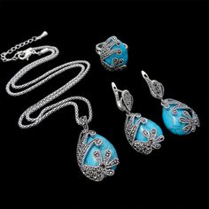 HENSEN Fashion Turkish Jewellery Vintage Silver Plated Black Crystal And Natural Stone Blue Turquoise Jewelry Sets For Women