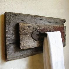 reclaimed scrap wood towel rack