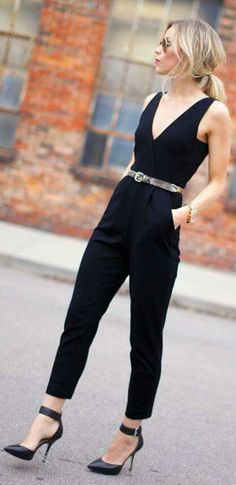 Beautifully tailored jumpsuit, simple and polished. I love the v neck and shorter hem. i need this in my life!