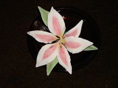 Three Beautiful Gumpaste Stargazer Lily Perfect for Wedding Cakes and Your Special Cakes. $30.00, via Etsy.