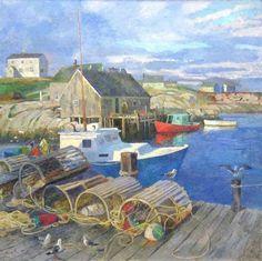 Anatoly Dverin. Fishing Boats at Pegge's Cove, Nova Scotia