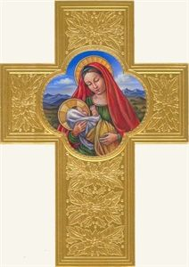 Madonna and Child on Golden Cross