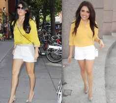 Ashes into Fashion: Kourtney Kardashian Inspired: Yellow Blouse + White Shorts