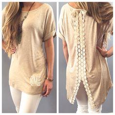 Monogram Lace Trim Sweater - Short Sleeve