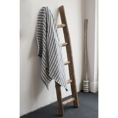 Navy and off white stripe towels www.clothandgoods.com