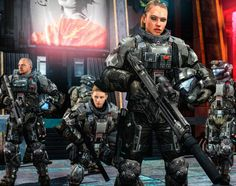 Orbital Drop Shock Troopers in suppressed gear awaiting orders during the Insurrectionists War in an occupied city. Armed with standard M7S caseless submachinegun, SR52 Suppressed Designated Marksm...