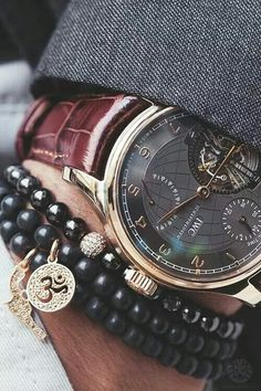 Mens watch and bracelet stack