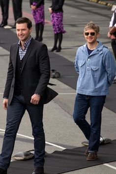 """[Richard Armitage on Martin Freeman] """"Martin is just like a one man band. He's the most entertaining guy I have ever met. He's so funny. He can really pull out an emotional card aswell and be very moving. It always took me by surprise, because I'd be watching going 'You're going to be funny now aren't you' and he wouldn't he'd move you."""""""